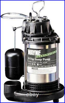 New Wayne Cdu980e Submersible Cast Iron Stainless 3/4hp Water Sump Pump & Switch
