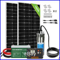 Off Grid 24V 320W Solar Powered Submersible Water Deep Well Pump Battery System