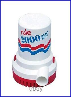 Rule 10 Bilge Water Pump 2000 GPH NON-Automatic 12V Submersible Marine Boat