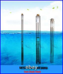 SHYLIYU 3 Bore 1/3Hp Stainless Steel Deep Well Submersible Screw Water Pump 70m