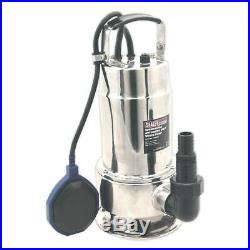 Sealey WPS225A Submersible Stainless Water Pump Automatic Dirty Water 225ltr/min