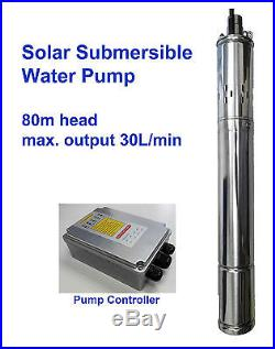Solar DC Submersible Water Pump max. Head 80m 260ft 24V controller deep well