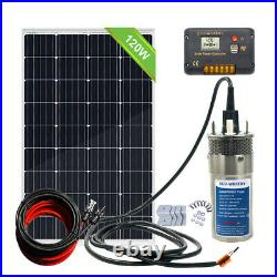 Steel Submersible Deep Well Solar Water Pump 12V+120W Solar Panel+20A Controller