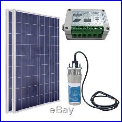 Steel Submersible Deep Well Solar Water Pump 24V+200W Solar Panel+15A Controller