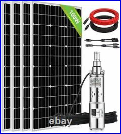 Submersible Bore Solar Water Pump 3 Deep Well Irrigation Stainless+Solar Panel