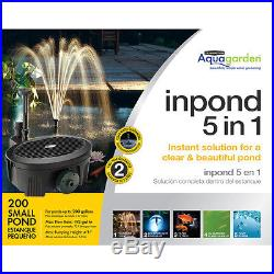 Submersible Pond Pump Filter UV Clarifier and LED Light 192-GPH Standard Sized