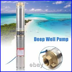 Submersible Pump, 4 Deep Well, 1.5 HP Borehole Garden Ponds Pump 1100W 9000L/H