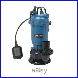 Submersible Sewage Dirty Water Drain Septic Sump Cesspool Grinding Pump 10m Hose