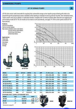 Submersible sewage water pump JST 15 SV 3 1.5kW HEAVY DUTY 400V FARM NORMANTON