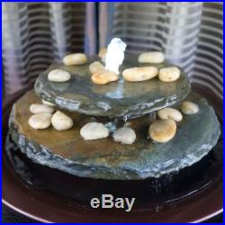 Tabletop Water Fountain Tranquility Pool LED Dark Copper Rocks Submersible Pump