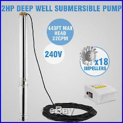 VEVOR 4 Borehole Submersible Deep Well Water PUMP 135m 2HP + CABLE 40m