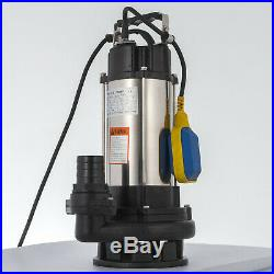 Vover Heavy Duty 1500W Submersible Sewage Dirty Water Septic Pump Float Switch