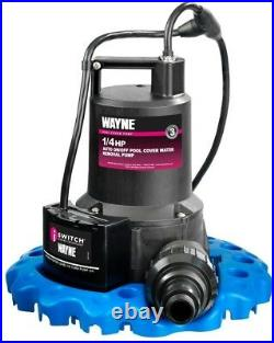 Water Removal Pool Cover Submersible Pump Drain Hose Auto On Off WAPC250 1/4 HP